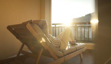 sunbed with evening sun